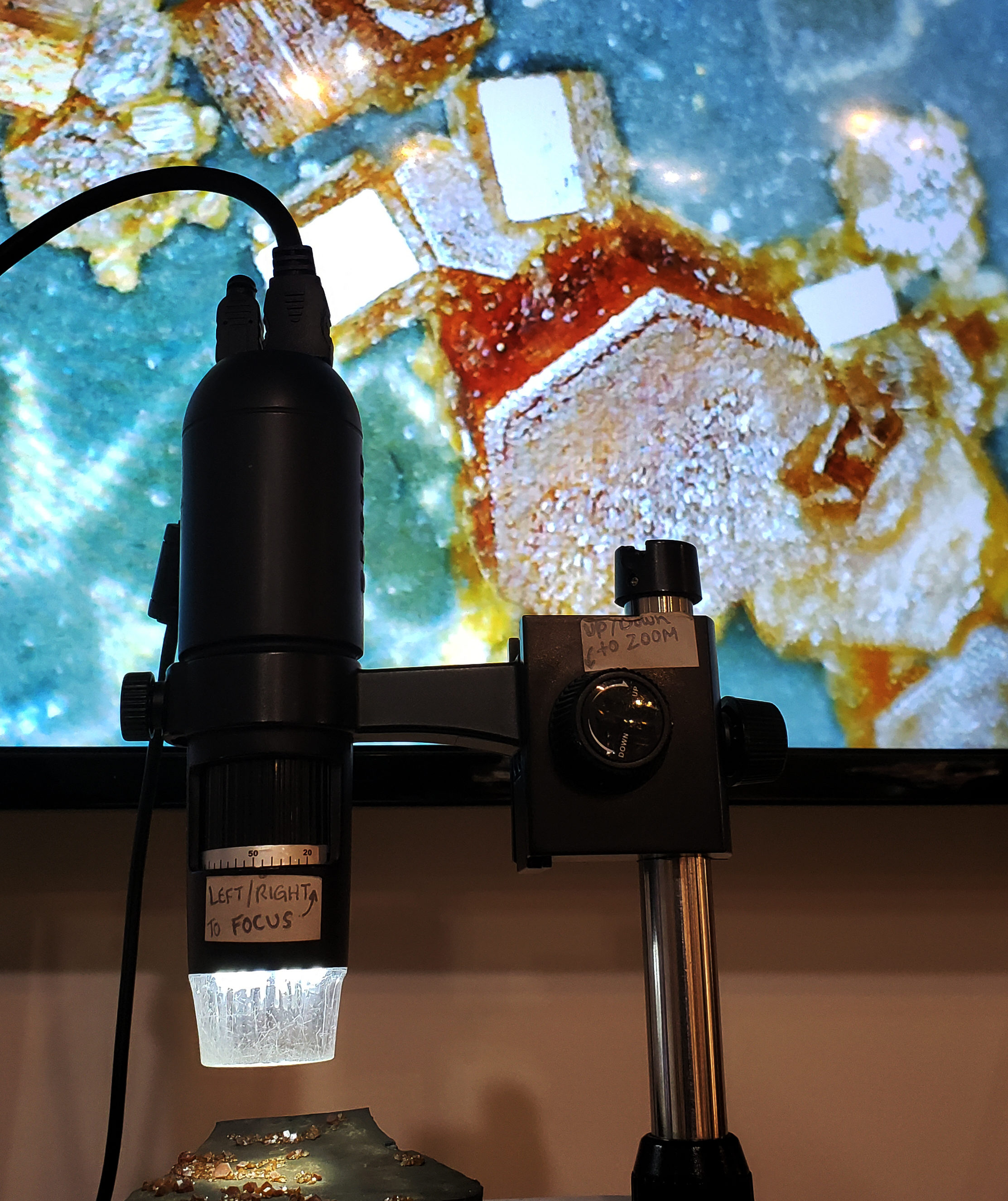 Microscope with television behind it
